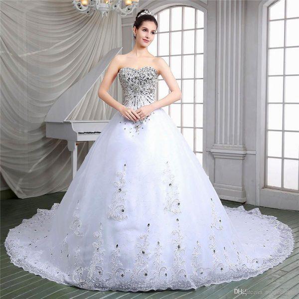 Wedding Dresses For   Missouri : White stone wedding gowns bridal dresses