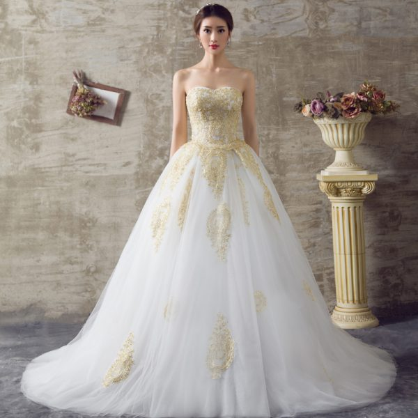 Gold Wedding Dresses.Golden Wedding Gown