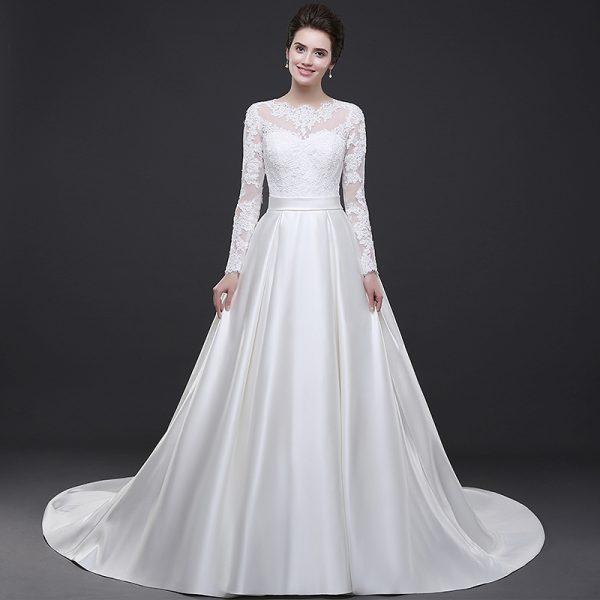 Satin wedding gown bridal dresses prevnext junglespirit Choice Image